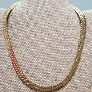 "Jewelry - 18"" GOLD PLATED HERRINGBONE NECKLACE 
